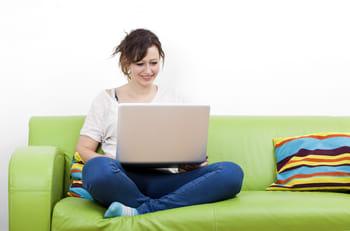 person enjoying blog post