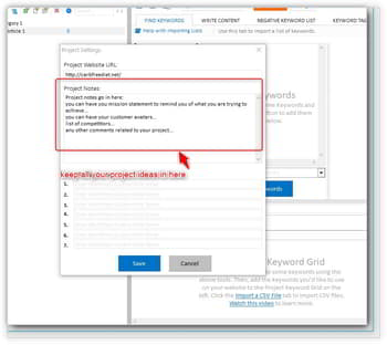 adding project notes to keyword researcher pro