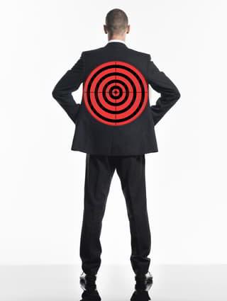 target on mans back